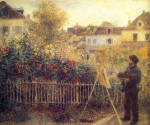 Pierre Auguste Renoir -- Claude Monet painting in his Garden at Argenteuil